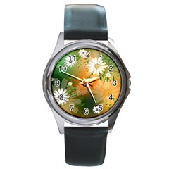 Beautiful Flowers With Leaves On Soft Background Round Metal Watches