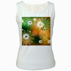 Beautiful Flowers With Leaves On Soft Background Women s Tank Tops