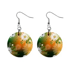 Beautiful Flowers With Leaves On Soft Background Mini Button Earrings
