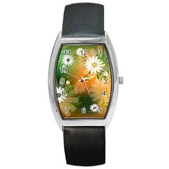 Beautiful Flowers With Leaves On Soft Background Barrel Metal Watches