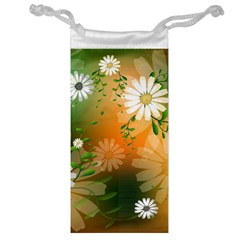 Beautiful Flowers With Leaves On Soft Background Jewelry Bags