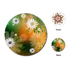 Beautiful Flowers With Leaves On Soft Background Playing Cards (Round)
