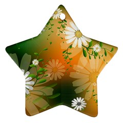 Beautiful Flowers With Leaves On Soft Background Star Ornament (Two Sides)