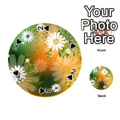 Beautiful Flowers With Leaves On Soft Background Playing Cards 54 (Round)
