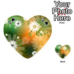 Beautiful Flowers With Leaves On Soft Background Playing Cards 54 (Heart)
