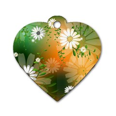 Beautiful Flowers With Leaves On Soft Background Dog Tag Heart (Two Sides)