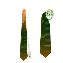 Beautiful Flowers With Leaves On Soft Background Neckties (One Side)
