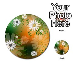 Beautiful Flowers With Leaves On Soft Background Multi Purpose Cards (round)