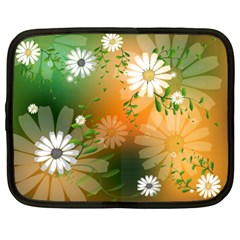Beautiful Flowers With Leaves On Soft Background Netbook Case (xxl)