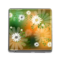 Beautiful Flowers With Leaves On Soft Background Memory Card Reader (Square)
