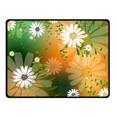 Beautiful Flowers With Leaves On Soft Background Fleece Blanket (Small)