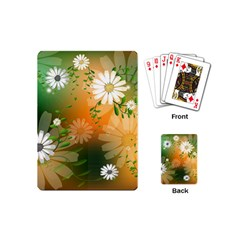 Beautiful Flowers With Leaves On Soft Background Playing Cards (Mini)