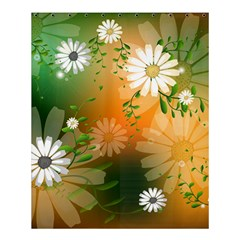 Beautiful Flowers With Leaves On Soft Background Shower Curtain 60  x 72  (Medium)