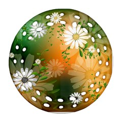 Beautiful Flowers With Leaves On Soft Background Ornament (round Filigree)