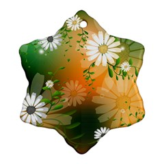 Beautiful Flowers With Leaves On Soft Background Snowflake Ornament (2 Side)