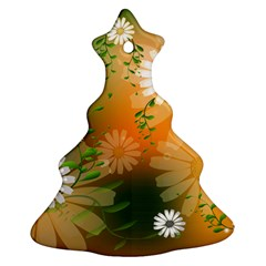 Beautiful Flowers With Leaves On Soft Background Christmas Tree Ornament (2 Sides)