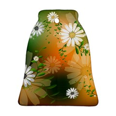 Beautiful Flowers With Leaves On Soft Background Bell Ornament (2 Sides)