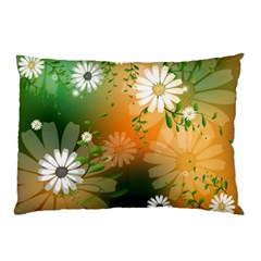 Beautiful Flowers With Leaves On Soft Background Pillow Cases (Two Sides)