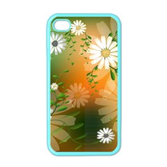 Beautiful Flowers With Leaves On Soft Background Apple iPhone 4 Case (Color)