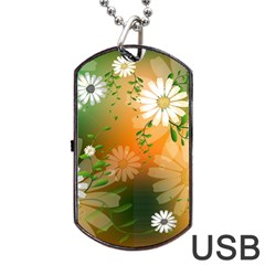 Beautiful Flowers With Leaves On Soft Background Dog Tag USB Flash (One Side)