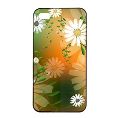 Beautiful Flowers With Leaves On Soft Background Apple iPhone 4/4s Seamless Case (Black)