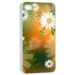 Beautiful Flowers With Leaves On Soft Background Apple iPhone 4/4s Seamless Case (White)