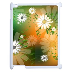 Beautiful Flowers With Leaves On Soft Background Apple iPad 2 Case (White)