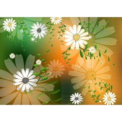 Beautiful Flowers With Leaves On Soft Background Birthday Cake 3d Greeting Card (7x5)