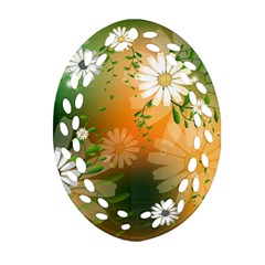 Beautiful Flowers With Leaves On Soft Background Oval Filigree Ornament (2 Side)