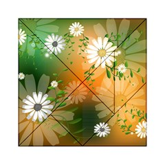 Beautiful Flowers With Leaves On Soft Background Acrylic Tangram Puzzle (6  x 6 )