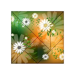 Beautiful Flowers With Leaves On Soft Background Acrylic Tangram Puzzle (4  X 4 )