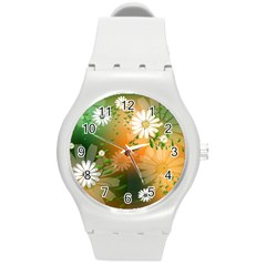 Beautiful Flowers With Leaves On Soft Background Round Plastic Sport Watch (M)