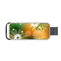 Beautiful Flowers With Leaves On Soft Background Portable USB Flash (One Side)