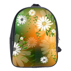 Beautiful Flowers With Leaves On Soft Background School Bags (XL)