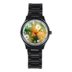 Beautiful Flowers With Leaves On Soft Background Stainless Steel Round Watches