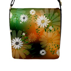 Beautiful Flowers With Leaves On Soft Background Flap Messenger Bag (L)