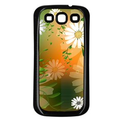 Beautiful Flowers With Leaves On Soft Background Samsung Galaxy S3 Back Case (Black)