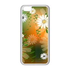 Beautiful Flowers With Leaves On Soft Background Apple iPhone 5C Seamless Case (White)