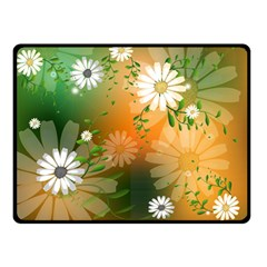 Beautiful Flowers With Leaves On Soft Background Double Sided Fleece Blanket (small)
