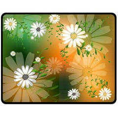 Beautiful Flowers With Leaves On Soft Background Double Sided Fleece Blanket (Medium)