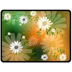 Beautiful Flowers With Leaves On Soft Background Double Sided Fleece Blanket (large)