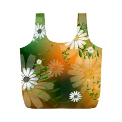 Beautiful Flowers With Leaves On Soft Background Full Print Recycle Bags (M)