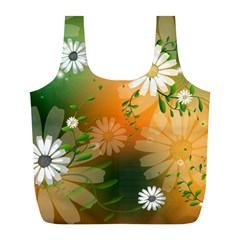 Beautiful Flowers With Leaves On Soft Background Full Print Recycle Bags (L)
