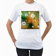 Beautiful Flowers With Leaves On Soft Background Women s T-Shirt (White)