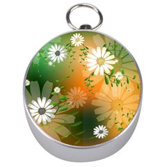 Beautiful Flowers With Leaves On Soft Background Silver Compasses
