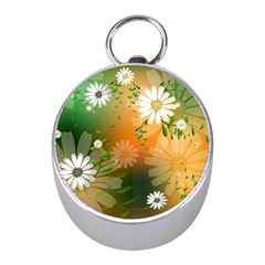 Beautiful Flowers With Leaves On Soft Background Mini Silver Compasses