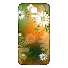 Beautiful Flowers With Leaves On Soft Background Samsung Galaxy S5 Back Case (White)