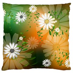 Beautiful Flowers With Leaves On Soft Background Standard Flano Cushion Cases (Two Sides)