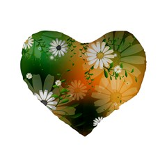 Beautiful Flowers With Leaves On Soft Background Standard 16  Premium Flano Heart Shape Cushions