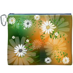 Beautiful Flowers With Leaves On Soft Background Canvas Cosmetic Bag (XXXL)